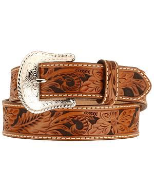 Tony Lama Floral Tooled Leather Belt - Reg & Big