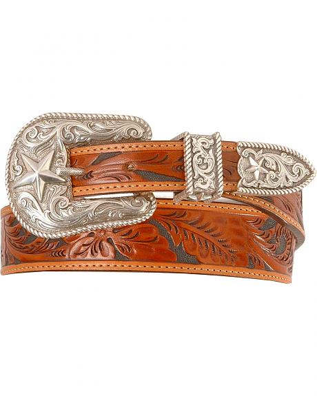 Justin Tooled Leather Belt - Reg & Big