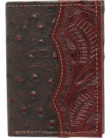 American West Tri-Fold Tooled Ostrich Wallet
