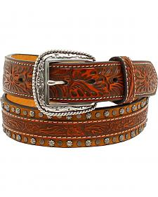 Ariat Men's Floral Strip Nailhead Embossed Belt