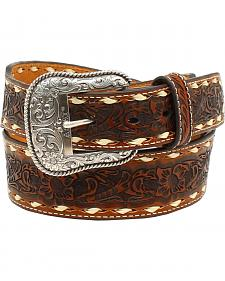 Ariat Men's Floral Emobssed Lacing Belt