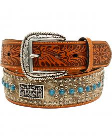 Ariat Men's Calf Hair 3 Crosses Concho Belt