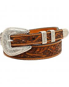 Nocona Men's  Floral Embossed 4-Piece Buckle Belt