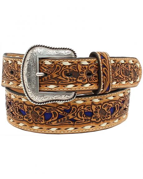 Nocona Women's Blue Floral Embossed Belt