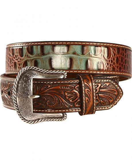 Nocona Men's Turquoise and Croc Leather Belt