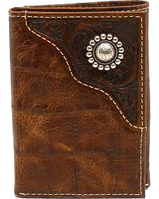 Ariat Men's Tri-Fold Floral Emobossed Overlay Large Concho Wallet
