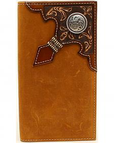 Ariat Men's Rodeo Embossed Overlay Ribbon Round Concho Wallet