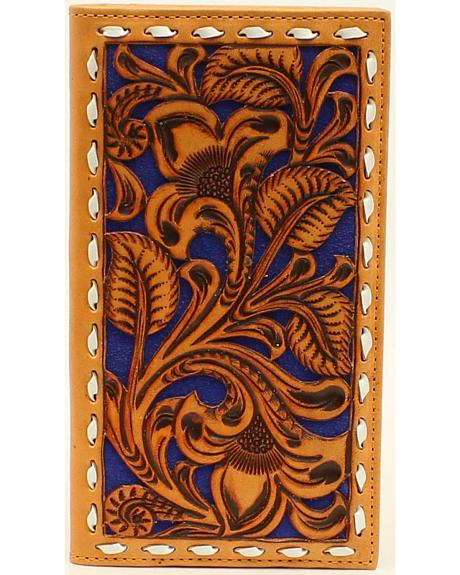 Nocona Men's Blue Floral Embossed Rodeo Wallet