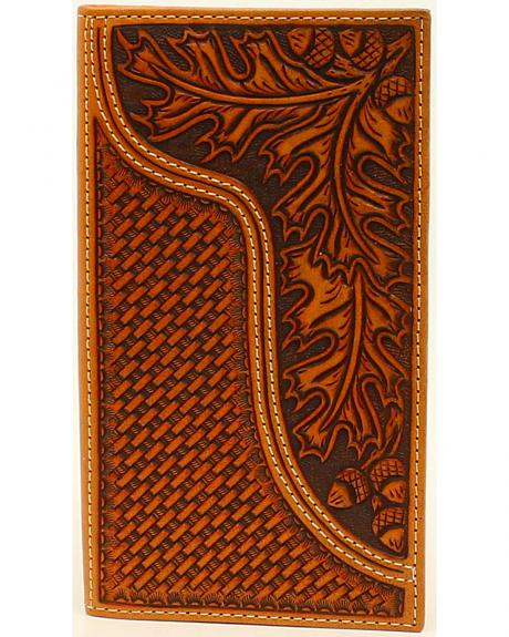 Nocona Men's Leaves and Acorns Basket Weave Rodeo Wallet