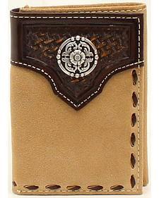 Ariat Tri-Fold Basket Weave Embossed Lacing Wallet