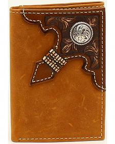 Ariat Men's Tri-Fold Embossed Overlay Ribbon Round Concho Wallet