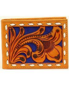 Nocona Men's Bi-Fold Blue Floral Embossed Wallet