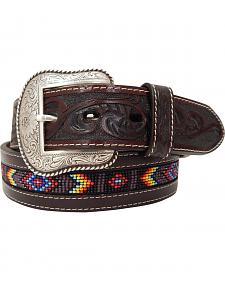 Roper Men's Hand-Tooled Beaded Silver Buckle Belt