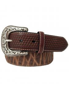 Roper Men's Top Grain Leather Belt with Bark Design