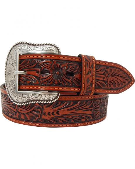 Roper Men's Tan Hand-Tooled Floral Design Belt with Silver Buckle