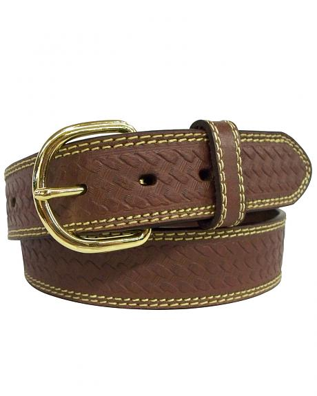 G-D Men's Top Grain Leather Belt with Embossed Weave Design