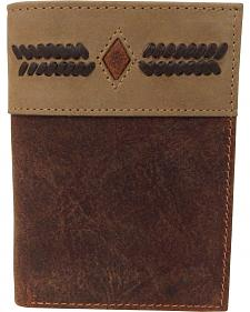 G-D Men's Two-Tone Trifold Stitch Design Checkbook Wallet