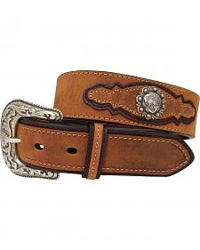 Dan Post Men's Crazyhorse Leather Silver Concho Belt
