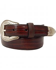 Dan Post Men's Tapered Lizard Print Leather Belt