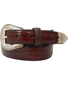 Dan Post Men's Tapered Lizard Print Leather Belt