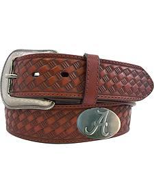 Collegiate Men's Alabama Brown Basketweave Leather Belt