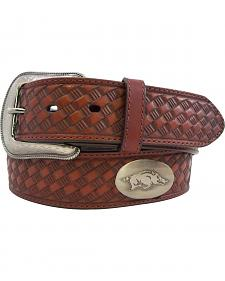 Collegiate University of Arkansas Embosssed Basketweave Leather Belt