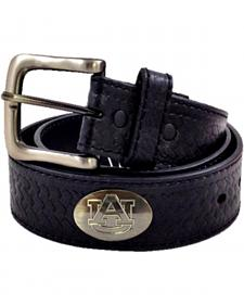 Collegiate Auburn Men's Collegiate Embossed Basketweave Leather Belt