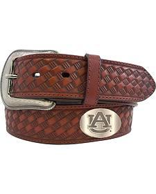 Collegiate Men's Auburn Collegiate Embossed Basketweave Leather Belt