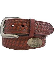 Collegiate Men's LSU Embossed Basketweave Leather Belt