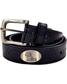 Collegiate Men's Ole Mississippi Embossed Basketweave Leather Belt