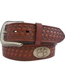 Collegiate Clemson Men's Embossed Basketweave Leather Belt