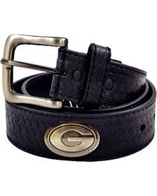 Collegiate Men's Georgia Embossed Basketweave Leather Belt