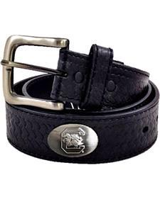 Collegiate Men's University of South Carolina Basketweave Leather Belt