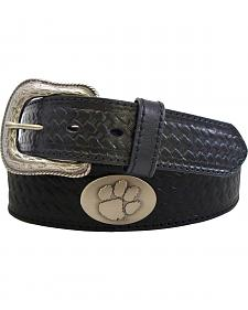 Collegiate Clemson University Basketweave Leather Belt