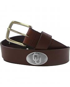Collegiate Men's University of Oklahoma Brown Bridle Leather Belt
