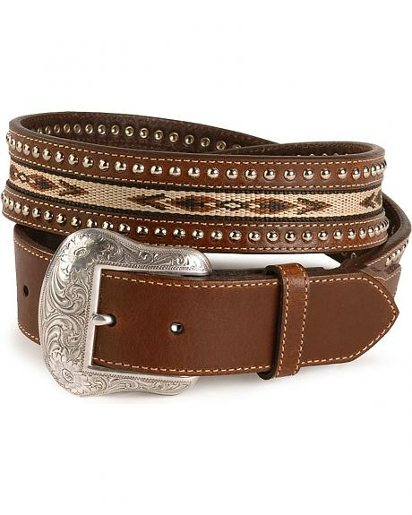 Nocona Inlay Studded Leather Belt - Reg & Big