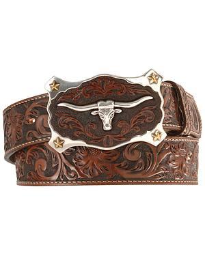 Justin Longhorn Buckle Leather Belt - Reg. & Big