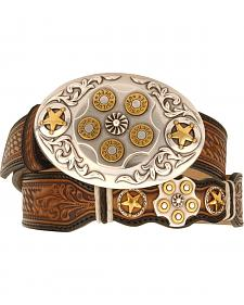 Texas Star Bullet Buckle Leather Belt - Reg & Big