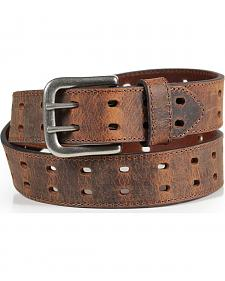 American Worker Men's Brown Crackle Leather Belt