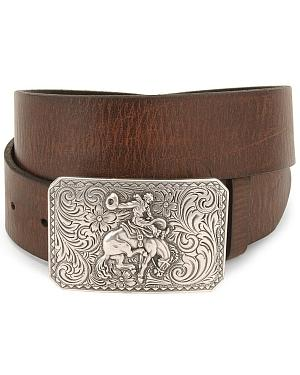 Nocona Bronco Buckle Leather Belt - Reg & Big