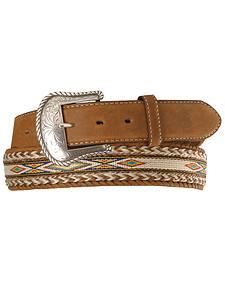 Tony Lama Horsehair Ribbon Leather Belt