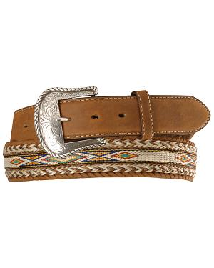 Tony Lama Horsehair Ribbon Leather Belt