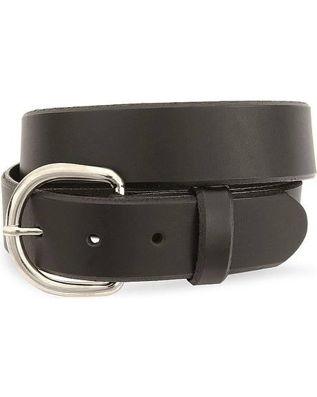 Silver Creek basic black leather belt - reg & big