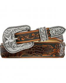 Tony Lama Beaumont Tapered Croc Print Leather Belt