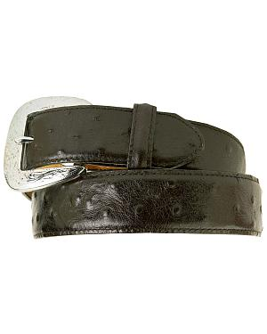 Tony Lama Ostrich Print Leather Belt - Reg & Big