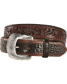 Tony Lama Tooled Caiman Print Leather Belt - Reg & Big