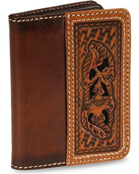 Morning Glory Tooled Leather Wallet