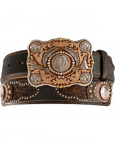 Tony Lama Heritage Buffalo Concho Leather Belt - Reg & Big
