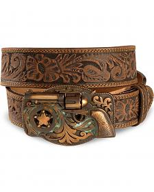 Tony Lama Trigger Happy Buckle Leather Belt - Reg & Big