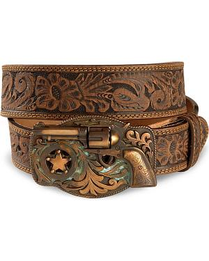 Justin Trigger Happy Buckle Leather Belt - Reg & Big